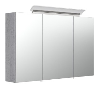 Spiegelschrank CALLEGOS 100cm 3-türig | mit LED-Leiste | beton-Optik