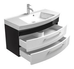 Waschplatz Rima 100cm mit 2 Schubladen | inkl. Waschbecken | anthrazit-weiß