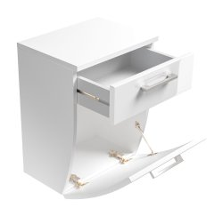 Badezimmer Unterschrank Rima | Schublade und Klappe, abgeschrägt | weiß