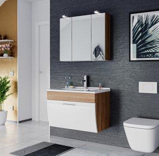 Badmöbel Salona Badset 2-teilig | Waschplatz 70cm + LED Spiegelschrank | eiche-weiss