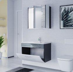 Badmöbel Salona Badset 2-teilig | Waschplatz 70cm + LED Spiegelschrank | anthrazit-weiss