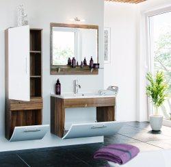 Badmöbel Salona Badset 3-teilig | Waschplatz 70cm + Spiegel | walnuss-weiß