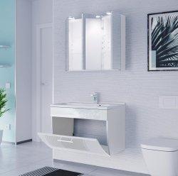 Badmöbel Salona Badset 2-teilig | Waschplatz 70cm + LED Spiegelschrank | weiss