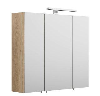 Badezimmer Spiegelschrank 3-türig Salona 70cm | mit LED-Lichtleiste | sonoma-eiche
