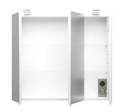 Badmöbel Salona Badset 3-teilig | Waschplatz 70cm + Glashochschrank | weiß-hochglanz