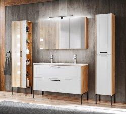 Badezimmer SET 3-tlg. MADERA 80cm | Waschplatz, Hoch- & Spiegelschrank | eiche-weiss