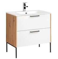 Badezimmer SET 2-tlg. MADERA 80cm | Waschplatz  & Spiegelschrank | eiche-weiss
