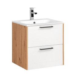 Badezimmer SET 3-tlg. MADERA 60cm | Waschplatz, Hoch- & Spiegelschrank | eiche-weiss
