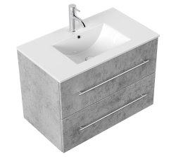 Waschplatz KUBOA 80cm breit | 2 Schubfächer + SoftClose | beton-grau
