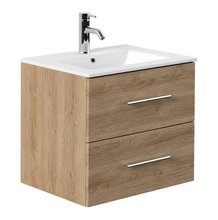 Waschplatz KUBOA 60cm breit   2 Schubfächer + SoftClose   eiche-hell