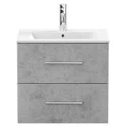 Waschplatz KUBOA 60cm breit   2 Schubfächer + SoftClose   beton-grau