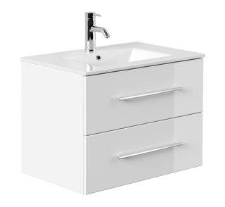 Waschplatz KUBOA 70cm breit | 2 Schubfächer + SoftClose | weiß-hochglanz