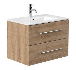Waschplatz KUBOA 70cm breit | 2 Schubfächer + SoftClose | eiche-hell