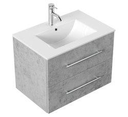 Waschplatz KUBOA 70cm breit | 2 Schubfächer + SoftClose | beton-grau
