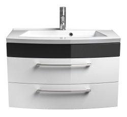 Badezimmer Rima Badset 6-teilig | Waschplatz 80cm | anthrazit-weiß