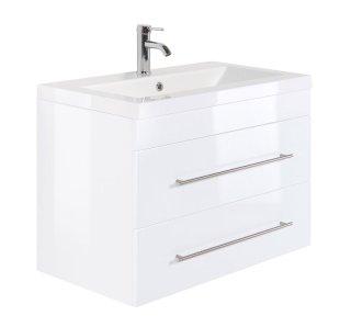 Waschplatz KUBOA II 85cm breit | 2 Schubfächer + SoftClose | weiß-hochglanz