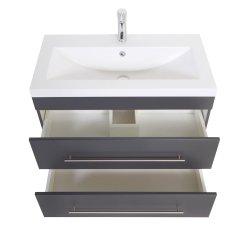 Waschplatz KUBOA II 85cm breit | 2 Schubfächer + SoftClose | anthrazit-glanz