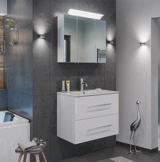 Badset KUBOA 2-teilig 70cm breit | Waschplatz & LED-Spiegelschrank | weiß-hochglanz