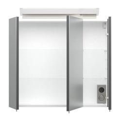 Badset KUBOA 2-teilig 70cm breit | Waschplatz & LED-Spiegelschrank | anthrazit-glanz