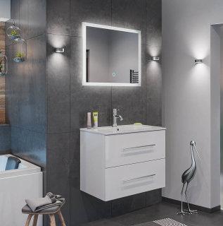 Badset KUBOA 2-teilig 70cm breit | Waschplatz & Touch-LED-Spiegel | weiß-hochglanz