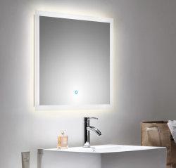 Badset KUBOA 2-teilig 70cm breit | Waschplatz & Touch-LED-Spiegel | anthrazit-glanz