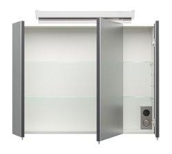 Badset KUBOA 2-teilig 80cm breit | Waschplatz & LED-Spiegelschrank | anthrazit-glanz