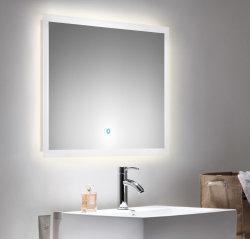Badset KUBOA 2-teilig 80cm breit | Waschplatz & Touch-LED-Spiegel | weiß-hochglanz