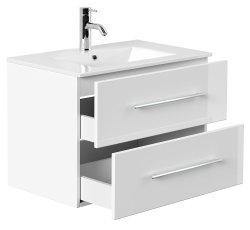 Badset KUBOA 4-teilig 70cm breit | Waschplatz, Spiegelschrank & 2x Hochschrank | weiß-hochglanz