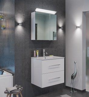 Badset KUBOA 2-teilig 60cm breit | Waschplatz & LED-Spiegelschrank | weiß-hochglanz