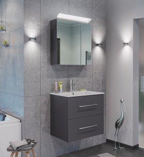 Badset KUBOA 2-teilig 60cm breit | Waschplatz & LED-Spiegelschrank | anthrazit-glanz