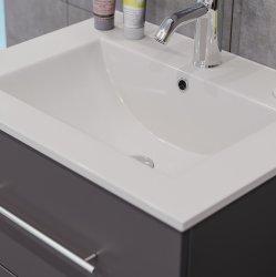 Badset KUBOA 2-teilig 60cm breit | Waschplatz & Touch-LED-Spiegel | weiß-hochglanz