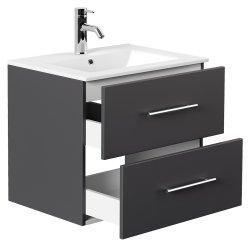 Badset KUBOA 2-teilig 60cm breit | Waschplatz & Touch-LED-Spiegel | anthrazit-glanz