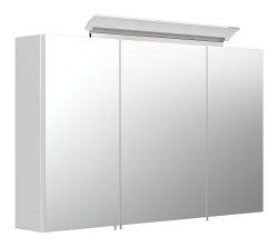 Badset KUBOA 2-teilig 100cm breit   Waschplatz & LED-Spiegelschrank   weiß-hochglanz