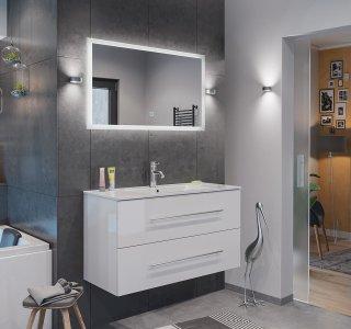 Badset KUBOA 2-teilig 100cm breit   Waschplatz & Touch-LED-Spiegel   weiß-hochglanz