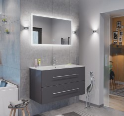 Badset KUBOA 2-teilig 100cm breit | Waschplatz & Touch-LED-Spiegel | anthrazit-glanz