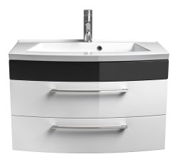 Badmöbel Rima Badset 2-teilig   Waschplatz 80cm + Spiegelschrank   anthrazit-weiß