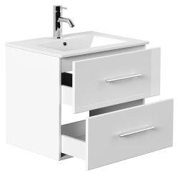 Badset KUBOA 4-teilig 60cm breit | Waschplatz, LED-Spiegel & 2x Hochschrank | weiß-hochglanz