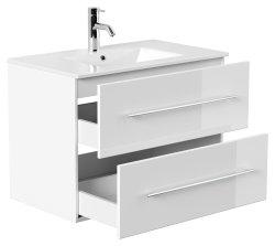 Badset KUBOA 4-teilig 80cm breit | Waschplatz, Spiegelschrank & 2x Hochschrank | weiß-hochglanz