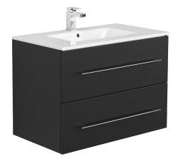 Badset KUBOA 4-teilig 80cm breit | Waschplatz, Spiegelschrank & 2x Hochschrank | anthrazit-glanz
