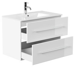 Badset KUBOA 4-teilig 80cm breit | Waschplatz, Touch-LED-Spiegel & 2x Hochschrank | weiß-hochglanz