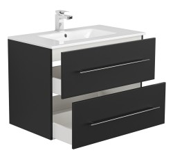 Badset KUBOA 4-teilig 80cm breit | Waschplatz, Touch-LED-Spiegel & 2x Hochschrank | anthrazit-glanz