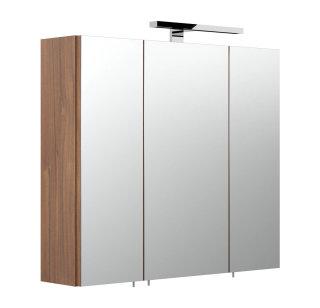 Badezimmer Spiegelschrank 3-türig Salona 70cm | mit LED-Lichtleiste | walnuss
