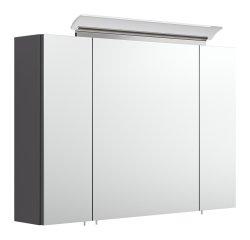 Badset KUBOA 4-teilig 90cm breit   Waschplatz, Spiegelschrank & 2x Hochschrank   anthrazit-glanz