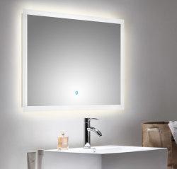 Badset KUBOA 4-teilig 90cm breit | Waschplatz, Touch-LED-Spiegel & 2x Hochschrank | weiß-hochglanz