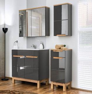 Badmöbel Badset Kalli 4-teilig 80cm | Stand-Waschplatz, Spiegelschrank usw. |  dunkelgrau-eiche