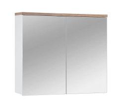 Badmöbel Badset Kalli 4-teilig 80cm   Stand-Waschplatz, Spiegelschrank usw.   weiß-eiche