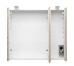 Badezimmer Spiegelschrank 3-türig Salona 70cm | mit LED-Beleuchtung sonoma-eiche