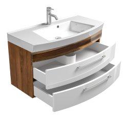 Badmöbel Rima Badset III 5-teilig | Waschplatz 100cm + Glashochschrank | walnuss-weiß