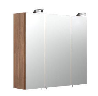 Badezimmer Spiegelschrank 3-türig Salona 70cm | mit LED-Beleuchtung walnuss