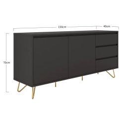 Sideboard PATET 150cm   mit 2 Türen und 3 Schubladen   grau matt